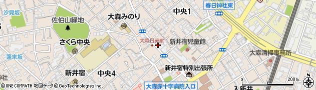 東京都大田区中央1丁目周辺の地図