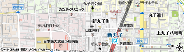 神奈川県川崎市中原区新丸子町周辺の地図