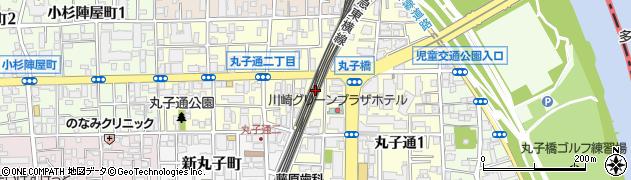 神奈川県川崎市中原区丸子通周辺の地図