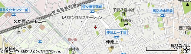 東京都大田区仲池上周辺の地図