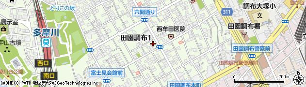 東京都大田区田園調布周辺の地図