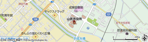 千葉県山武市周辺の地図