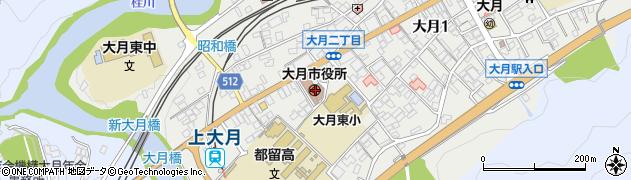 山梨県大月市周辺の地図