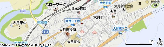 山梨県大月市大月広明周辺の地図