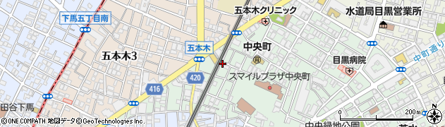 東京都目黒区中央町周辺の地図
