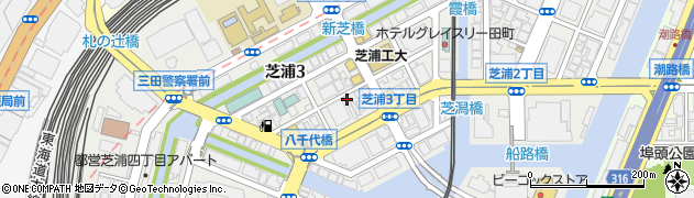 東京都港区芝浦周辺の地図