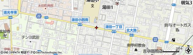 湯田小学校南東周辺の地図