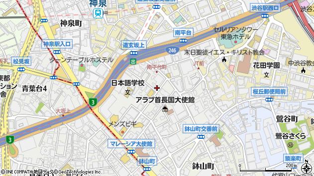 〒150-0036 東京都渋谷区南平台町の地図