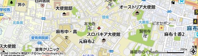 東京都港区元麻布周辺の地図