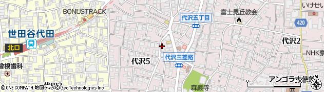 東京都世田谷区代沢周辺の地図