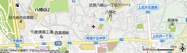 東京都世田谷区八幡山周辺の地図