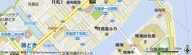 東京都中央区月島4丁目周辺の地図
