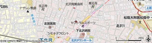 東京都世田谷区北沢周辺の地図