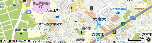 東京都港区六本木周辺の地図