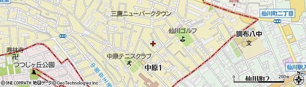 東京都三鷹市中原1丁目周辺の地図