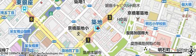 東京都中央区周辺の地図