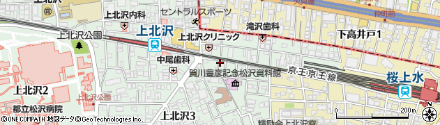 東京都世田谷区上北沢周辺の地図