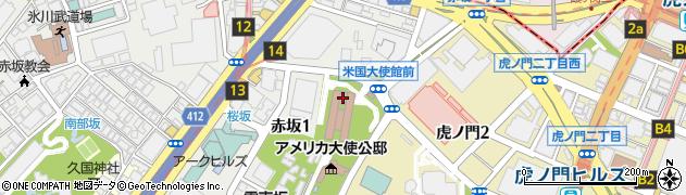 アメリカ合衆国大使館周辺の地図
