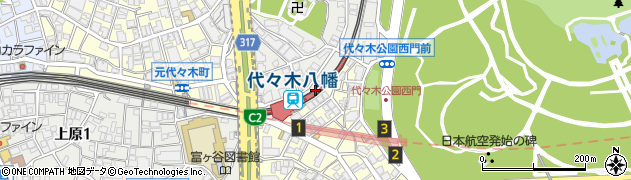 代々木八幡駅周辺の地図