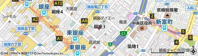 東京都中央区銀座3丁目周辺の地図
