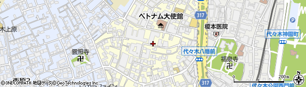 東京都渋谷区元代々木町周辺の地図