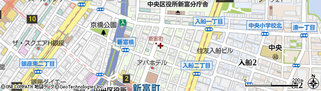 東京都中央区新富周辺の地図