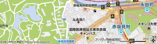 東京都港区元赤坂周辺の地図