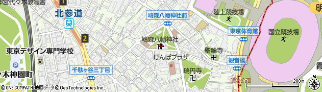 鳩森神社周辺の地図