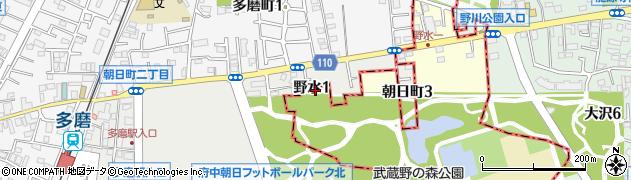 東京都調布市野水周辺の地図
