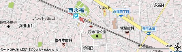 東京都杉並区永福3丁目周辺の地図
