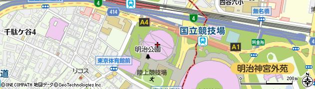 東京体育館周辺の地図