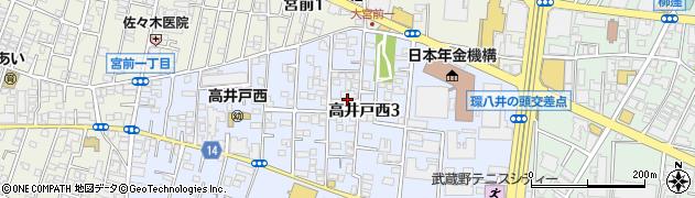 東京都杉並区高井戸西3丁目周辺の地図