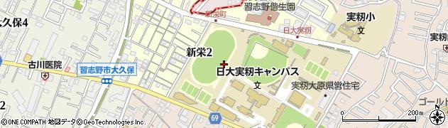 千葉県習志野市新栄周辺の地図