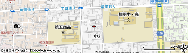 東京都国立市中3丁目周辺の地図
