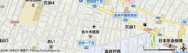 東京都杉並区宮前1丁目周辺の地図