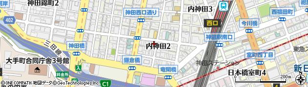 東京都千代田区内神田周辺の地図