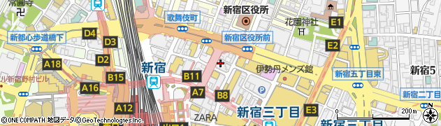 東京都新宿区新宿3丁目19-4周辺の地図