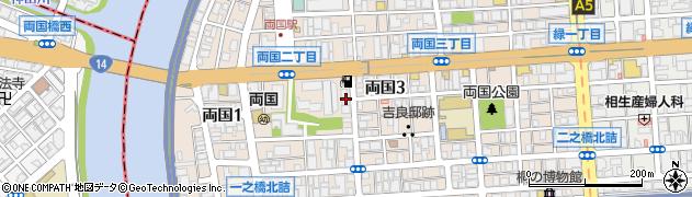 東京都墨田区両国周辺の地図