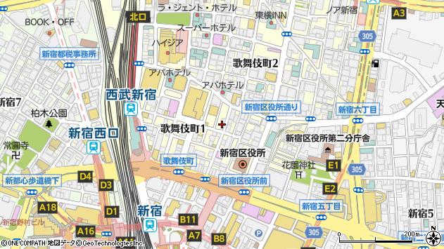 〒160-0021 東京都新宿区歌舞伎町の地図