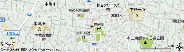 東京都中野区本町周辺の地図