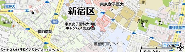 東京都新宿区河田町周辺の地図