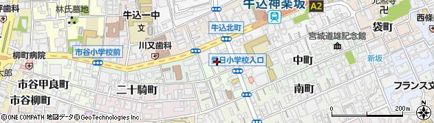 東京都新宿区細工町周辺の地図
