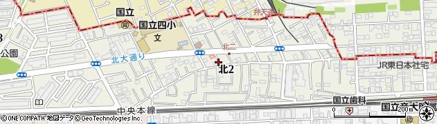 東京都国立市北周辺の地図