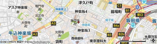 東京都新宿区神楽坂周辺の地図
