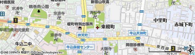 東京都新宿区榎町周辺の地図