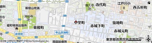東京都新宿区中里町周辺の地図