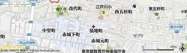 東京都新宿区築地町周辺の地図