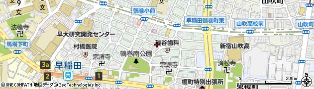 東京都新宿区早稲田鶴巻町周辺の地図