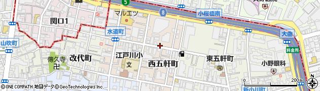 東京都新宿区西五軒町周辺の地図