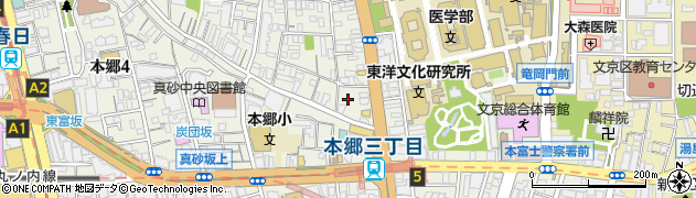 東京都文京区本郷周辺の地図